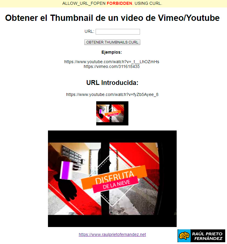 Thumbnails Youtube o Vimeo